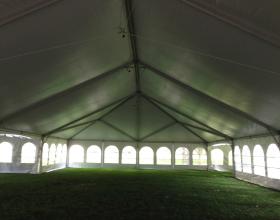 Underneath 40ft x 80ft hybrid tent