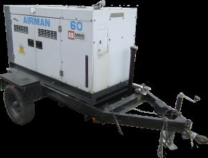 Airman 60 trailerable generator for rent.