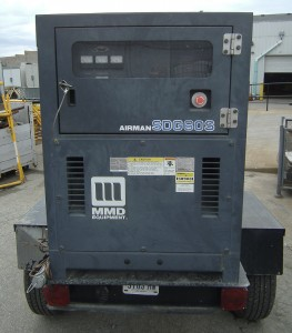 Back of Airman 60 trailerable generator for rent.