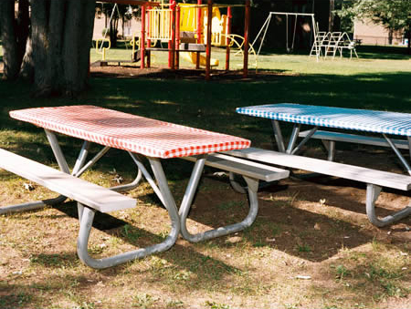 Standard sized aluminum picnic table rental.