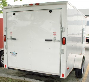 Back: 6'x10' enclosed cargo utility trailer