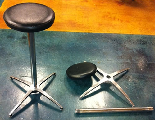Picture of our black padded bar stool both assembled and disassembled