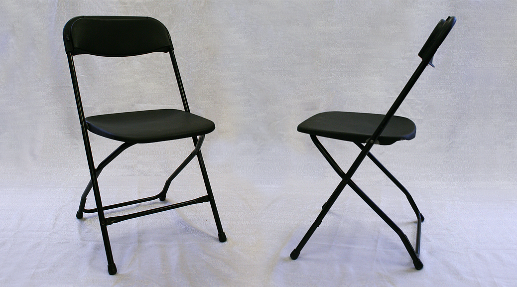 Black plastic folding chair rental Iowa City Cedar Rapids Party and Event