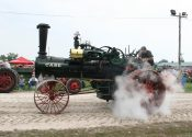 CASE tractor letting off steam at the Old Thresher's Reunion