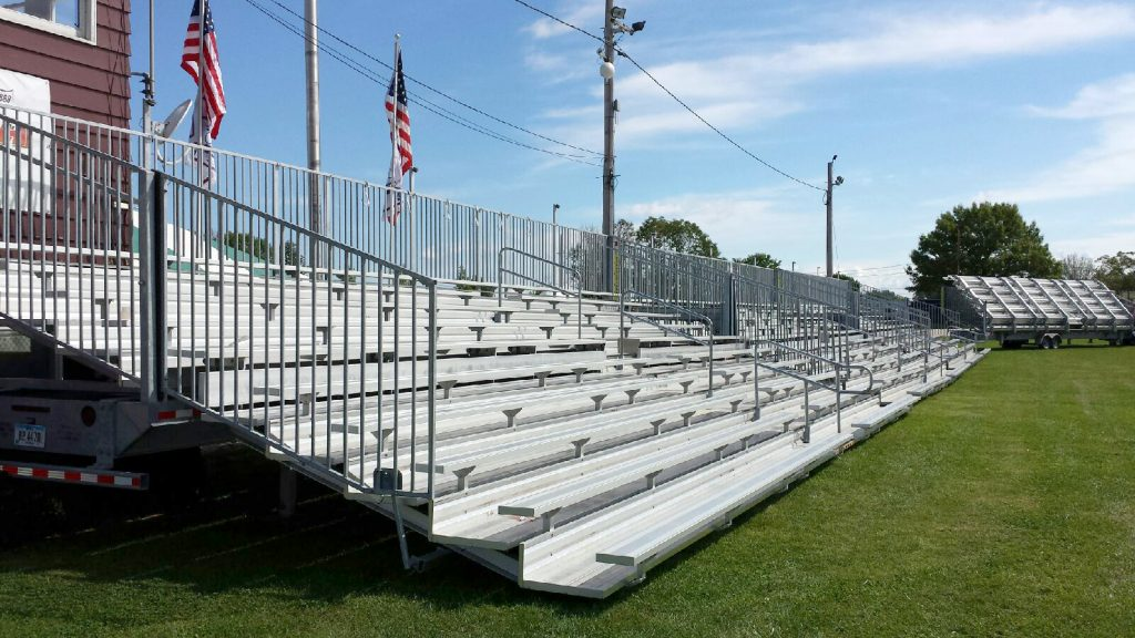 Four sets of 45' long, 10-Row Hydraulic Bleachers in a row at the 2014 Sandwich Fair in Sandwich, IL 60548