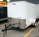 Front left side view of our 5'x8' enclosed trailer for rent.