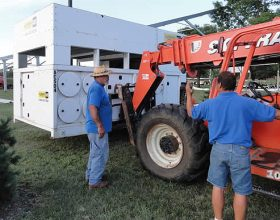Generator used to power the air conditioning unit for the event tent.