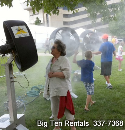 High velocity misting fans