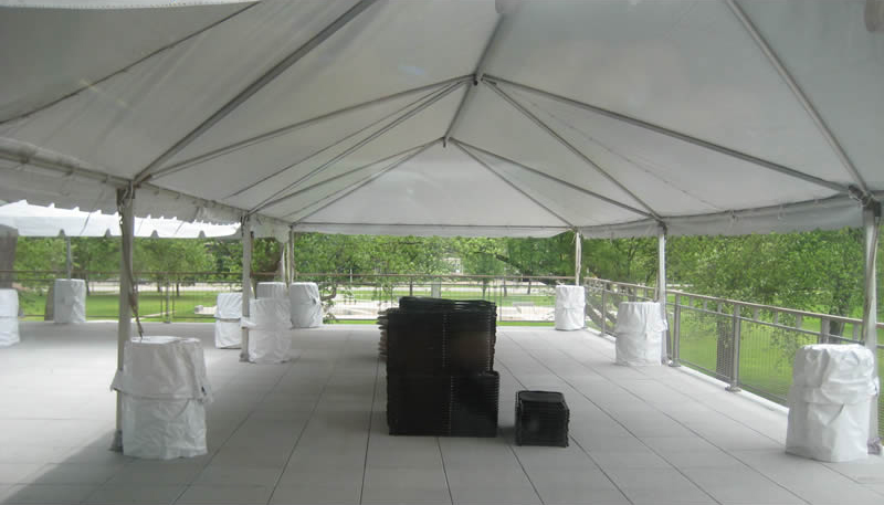 Picture of the inside of our 20\' x 60\' frame tent. Nice open span ...