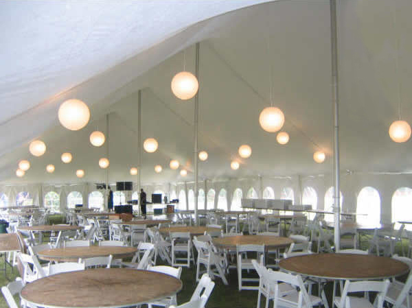 Outside of our 40u2032 x 100u2032 Elite u201cRope and Poleu201d event tent with French side walls installed. Japanese lanterns tables chairs and staging also rented from ... & 40u0027 x 100u0027 Elite Rope u0026 Pole tent rental: Eastern IA: Iowa City