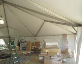 Left: 30′ x 30′ frame tent. Right: 40′ x 40′ hybrid tent.