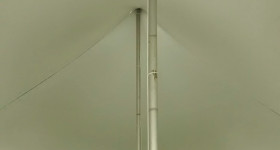 Inside the 40′ x 60′ rope and pole tent.