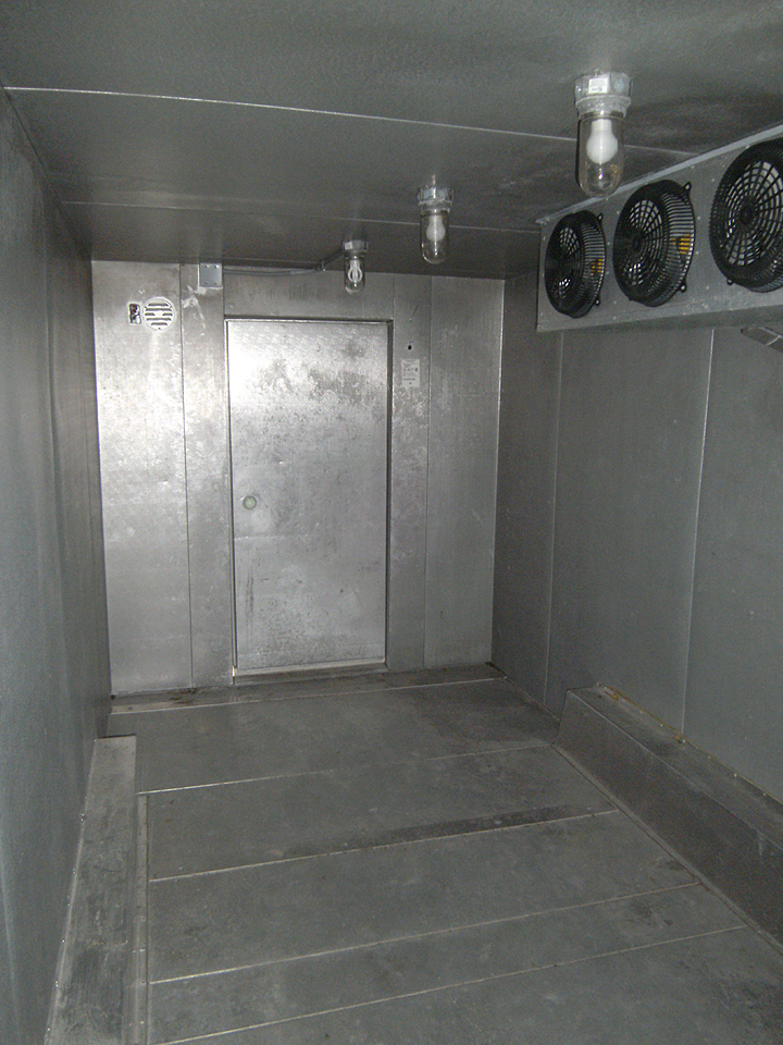 Inside trailerable walk-in freezer storage area & Emergency + Event Mobile Freezer Trailer Rental: IA IL MO