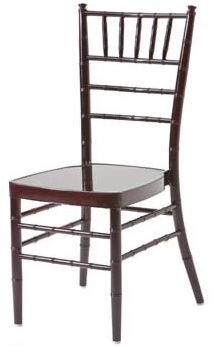 Rent our mahogany Chiavari chair for added style to your wedding.