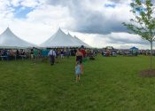 Panoramic view of the North Liberty Blues and Barbecue festival in Iowa on July 12th 2014.