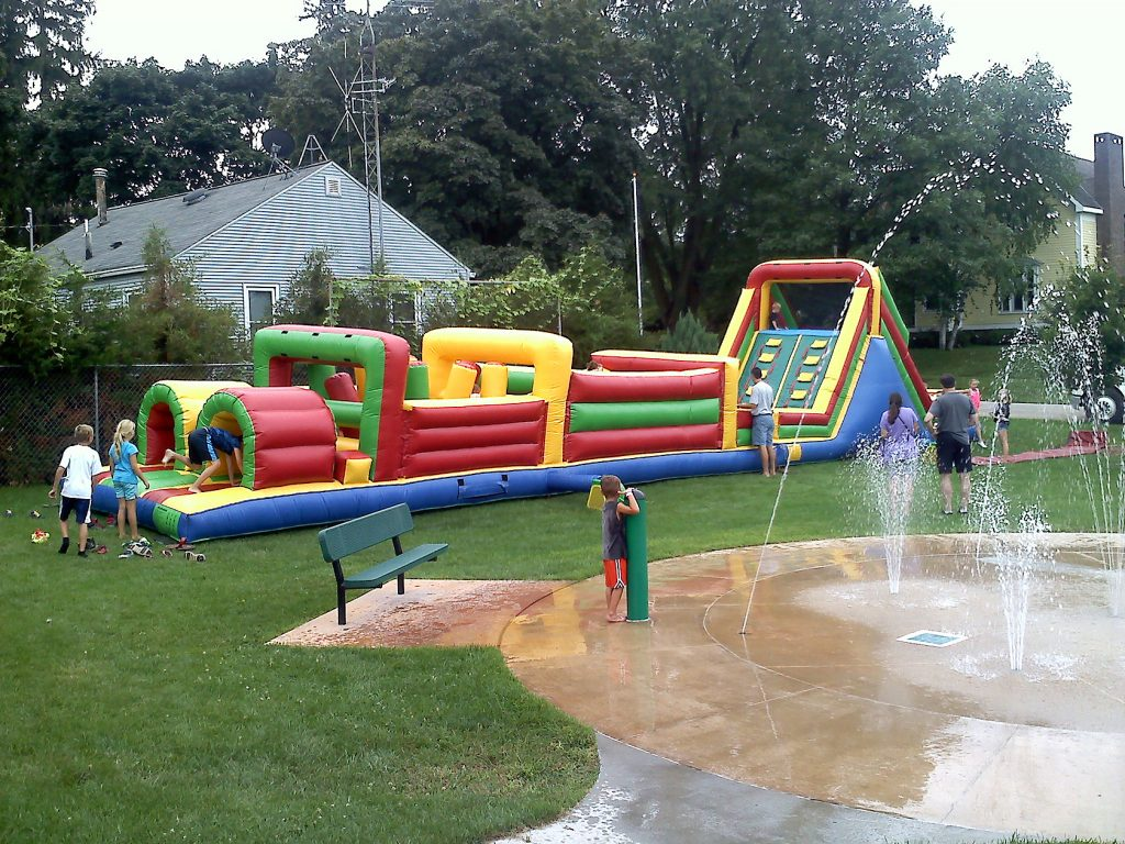Obstacle Course By Park Water Fountain Iowa City Cedar Rapids Party And Event Rentals