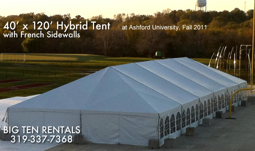 Picture of the outside of our 40' x 120' hybrid event tent. Its shown with french side walls installed.