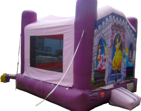 Outside view of the Princess palace bounce house (NOTE: Not properly anchored).