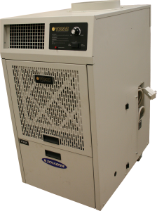 3/4 view of the front/side of the Topaz portable air conditioning unit. Model TZ-12B.