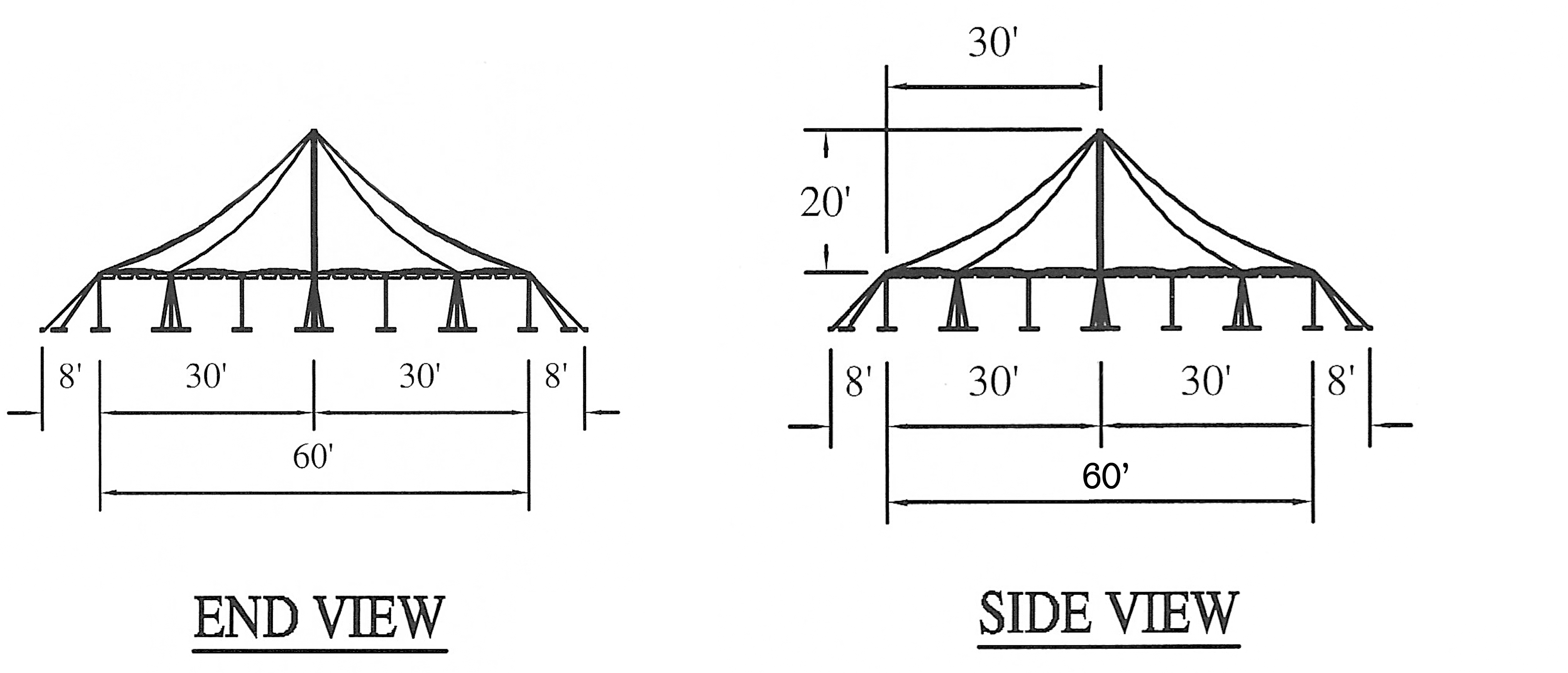 60ft  X 60ft  Rope  U0026 Pole Event Tent Rental In Iowa
