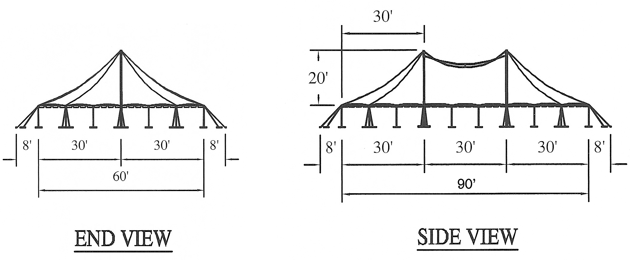 Diagram For 60 X 90 Quot Singe Pole Quot Rope And Pole Tent