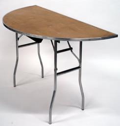 Rent our standard, 60 inch diameter, half round banquet table.