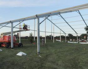 Straw Poll event tent setup