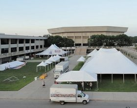 Straw Poll event tents by Big Ten Rentals