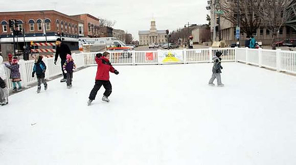 Synthetic ice skating rink in downtown Iowa City in 1/12/2013