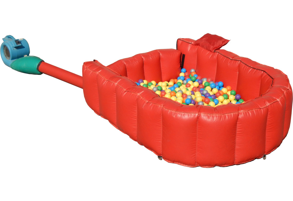 Toddler sized inflatable ball crawl with fan