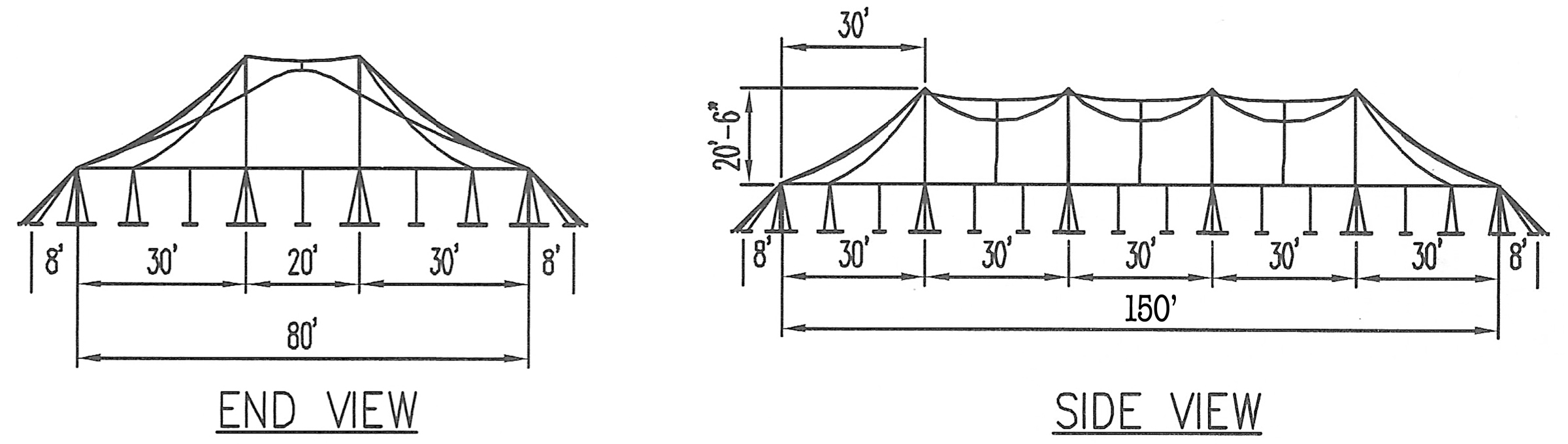 Twin Pole  80u0027 x 150u0027 Rope and Pole tent drawing with dimensions u201c  sc 1 st  Big Ten Rentals : tent size for 150 guests - memphite.com