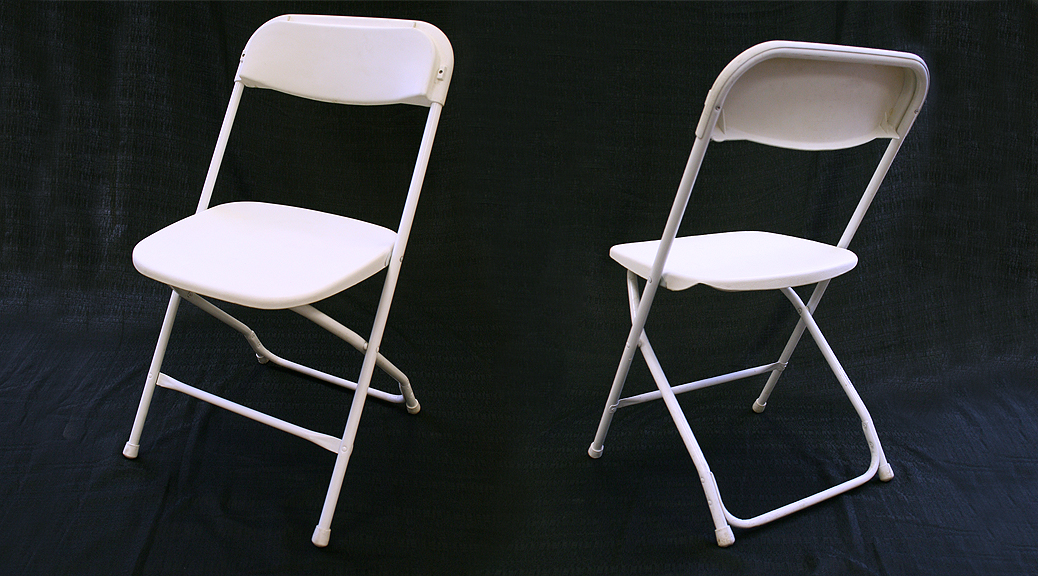 Standard white folding chair rental Iowa City Cedar Rapids IA