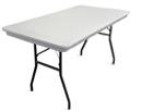 "6' x 30"" white plastic rectangular banquet table."
