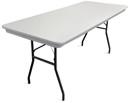 "8' x 30"" white plastic rectangular banquet table."