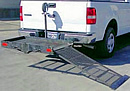 This auto hitch storage has a ramp for ease of loading.