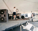 Stage under large tent rental