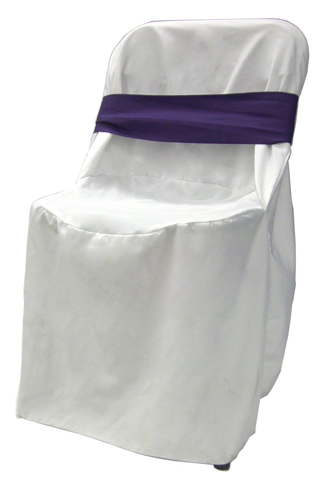 White Linen Chair Cover Rental with purple bow Wedding