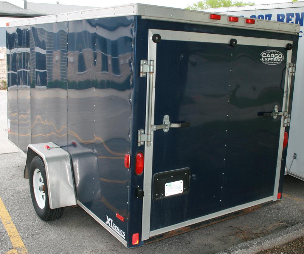 Blue 6'x12' enclosed cargo utility trailer rental: IC & CR ...