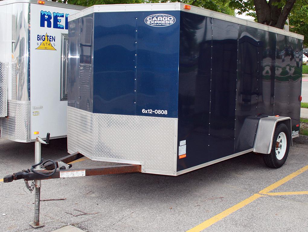 Blue 6 x12 enclosed cargo utility trailer rental IC & CR