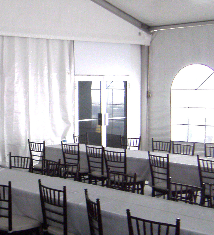 "Glass Doors installed on an event ""tent""/structure."