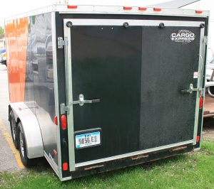 Back of our 7'x14' Orange and Black utility/motorcycle trailer.