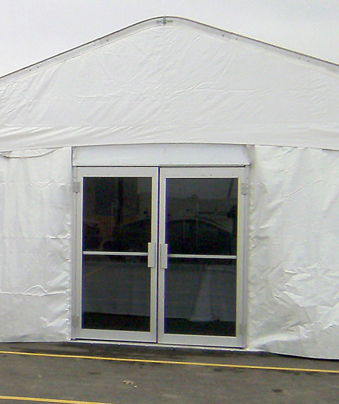 View from the outside of a glass door installed on an event tent. : tent door - Pezcame.Com