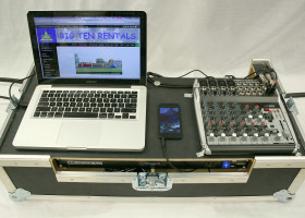 Build in platform for customer supplied computer and/or audio devices (mp3, iPhone, Android).