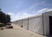 Outside view of the 18m x 60m (60′ x 197′) Losberger clearspan event structure/tent.
