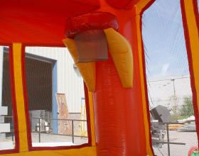 Basketball hoop inside of the  bounce house