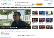 Bob Costas interview in the shade of a Big Ten Rentals tent.