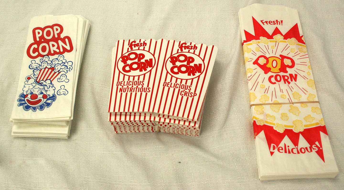 Choice of popcorn holders for sale.
