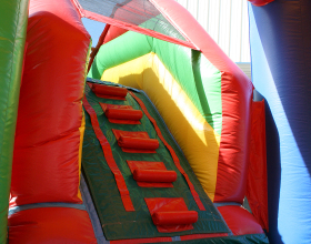 From inside the bounce house area you can climb your way to the top