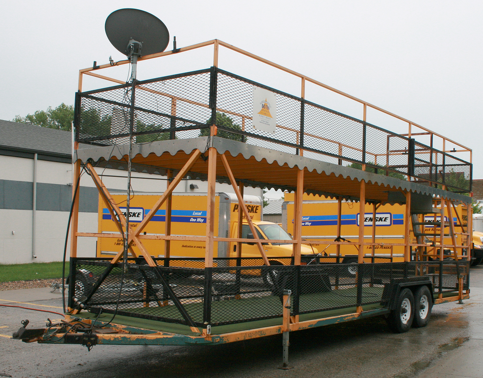Portable double decker party trailer rental in Iowa: tailgating #A46D27