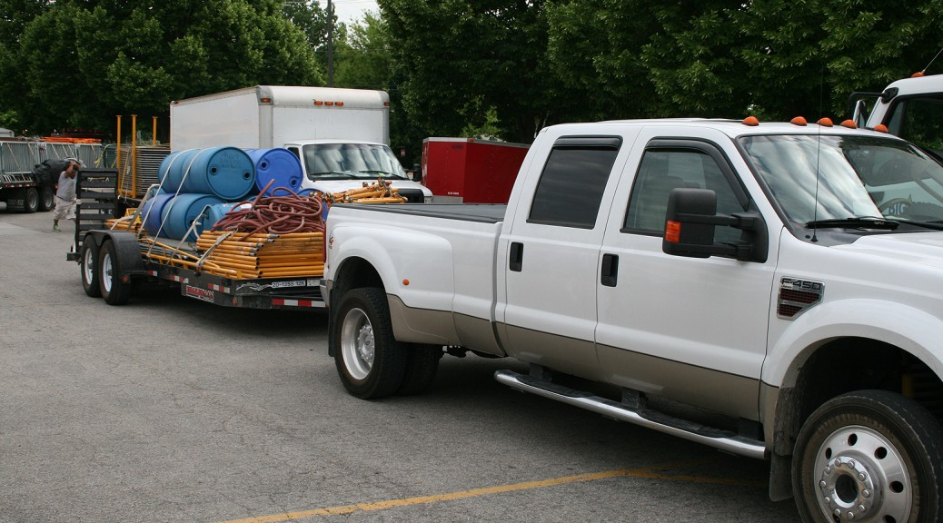 Scaffolding loaded on flatbed trailer headed to the Iowa Arts Festival in Iowa City on June, 5th 2014.